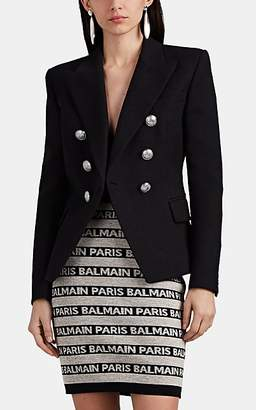 Balmain Women's Cotton Double-Breasted Blazer - Black
