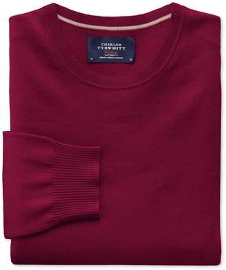 Charles Tyrwhitt Dark Red Merino Wool Crew Neck Sweater Size Large