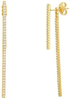Crislu Women's Gold Plated 925 Sterling Silver Round Clear Cubic Zirconia Short Stix Ear Jacket Stud Earrings