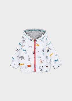 Paul Smith Baby Boys' 'Animals' Print Zebra Logo Reversible Zip Jacket