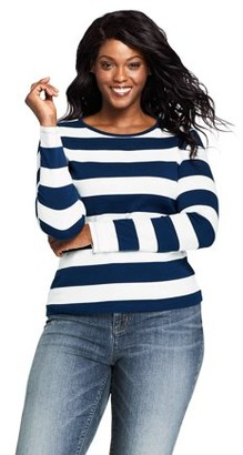 Lands' End Women's Plus Size Long Sleeve Rib Crew Tee