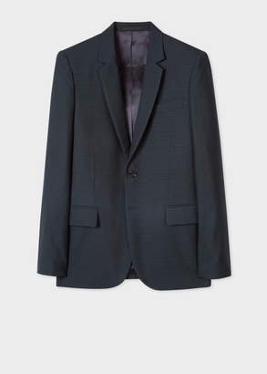 Paul Smith Men's Mid-Fit Dark Navy Small-Check Wool Blazer