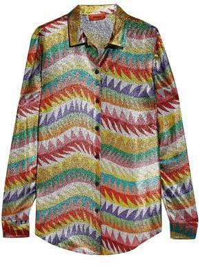 Missoni Metallic Crochet-Knit Silk-Blend Shirt