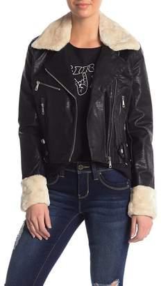 Vigoss Faux Fur Collar Faux Leather Moto Jacket