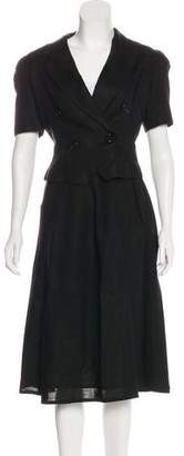 Oscar de la Renta Short Sleeve Knee-Length Skirt Suit