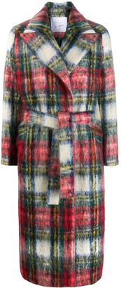 Giada Benincasa belted plaid coat