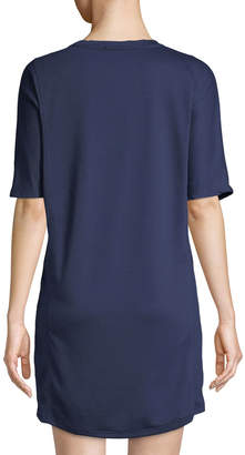Neiman Marcus Short-Sleeve Cocoon Cozy Knit Dress