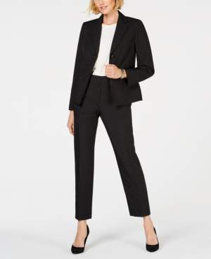 Le Suit Notch-Collar Pinstriped Pantsuit