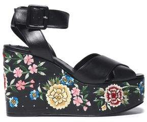 Alice + Olivia Violet Embroidered Leather Wedge Sandals