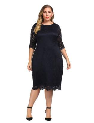 0351f75fb5 Chicwe Women s Plus Size Stretch Lined Lace Shift Dress - Knee Length Work Casual  Party Cocktail
