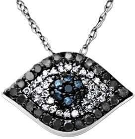 Saks Fifth Avenue Diamond Evil Eye Pendant in 14 Kt. White Gold 0.33 ct. t.w.