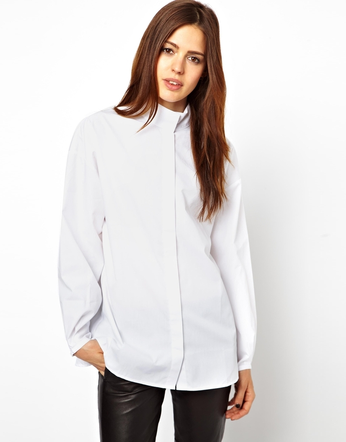 Asos Shirt with High Neck and Balloon Sleeve