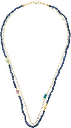 Objet-a Layered 18K Gold Sapphire And Tourmaline Necklace
