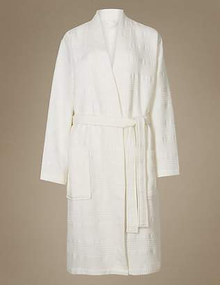 M&S Collection Pure Cotton Textured Waffle Dressing Gown