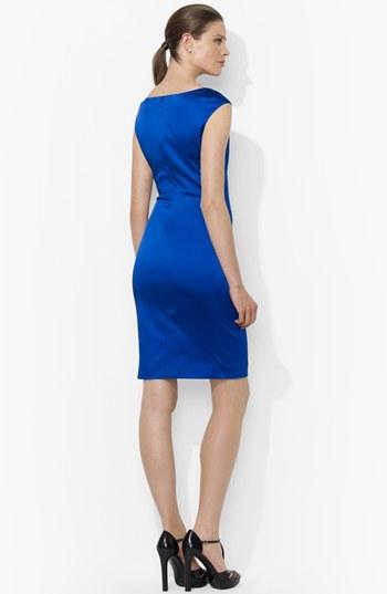 Lauren Ralph Lauren Side Pleat Satin Sheath Dress