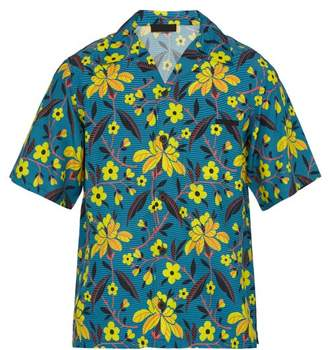 Prada Stripe And Floral Print Short Sleeved Satin Shirt - Mens - Blue Multi