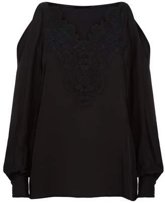 Elie Tahari Paisley Cold-Shoulder Lace Blouse