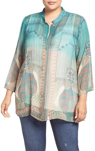 CitronPlus Size Women's Citron Peacock Print Silk Blouse