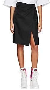 Prada Women's Tech-Gabardine Wrap-Front Skirt - Black