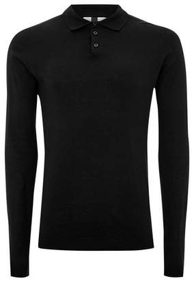 Topman Mens Black Knitted Polo