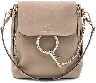 Chloé Small Faye Backpack Suede & Calfskin in Motty Grey | FWRD