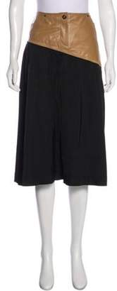 Celine Leather-Accented A-Line Skirt Black Leather-Accented A-Line Skirt