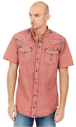True Religion MENS DISTRESSED WESTERN BUTTON UP SHIRT