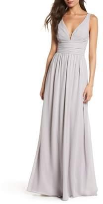 LuLu*s V-Neck Chiffon Gown