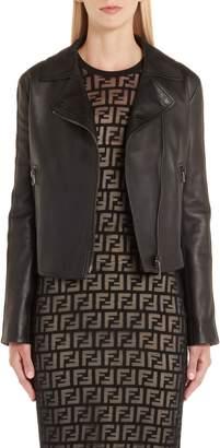 Fendi Logo Trim Leather Jacket