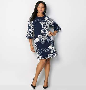 Avenue Floral Textured Flounce Sheath Dress