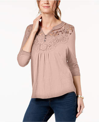 Style&Co. Style & Co Petite Embroidered Split-Neck Top