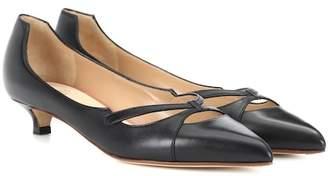 Francesco Russo Leather kitten heel pumps