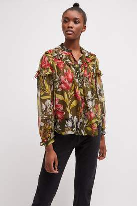 French Connenction Floreta Crinkle Floral Blouse