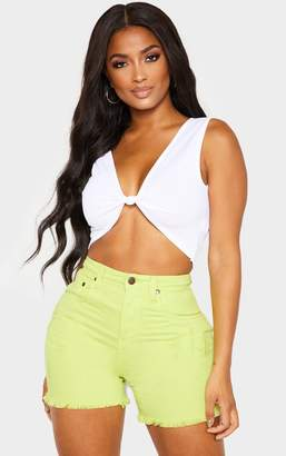 156bdc121d6 PrettyLittleThing Shape White Knot Front Crop Top