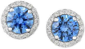 Arabella Swarovski Zirconia Halo Stud Earrings in Sterling Silver