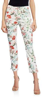 7 For All Mankind Jen7 by Floral Cropped Skinny Jeans with Side Vent