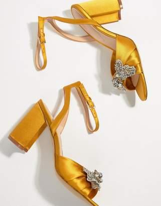 Aldo Embellished Mustard Block Heeled Sandals