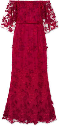 Marchesa Off-the-shoulder Embroidered Appliquéd Tulle Gown - US14
