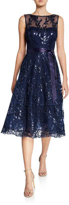 Rickie Freeman For Teri Jon Sequin Lace Boat-Neck Sleeveless Illusion Dress
