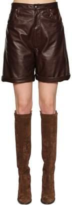 Etro High Waisted Leather Shorts