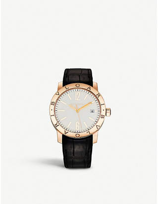 Bvlgari Solotempo 18ct pink-gold and alligator-leather watch