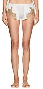 GILDA & PEARL Women's Gina Lace-Trimmed Silk Shorts - Wht, Gld