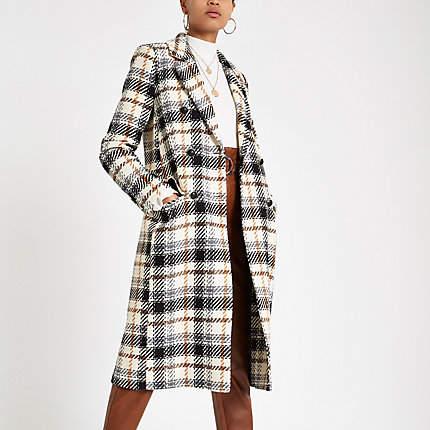 Womens Cream check long sleeve wool coat