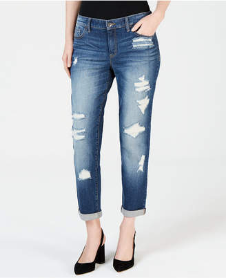 INC International Concepts I.n.c. Ripped Curvy-Fit Boyfriend Jeans, Created for Macy's