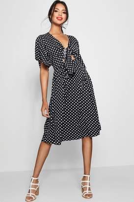 boohoo Knot Front Polka Dot Midi Dress