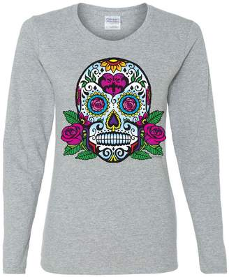 DAY Birger et Mikkelsen Tee Hunt Sugar Skull with Roses of The Dead Long Sleeve T-Shirt Calavera 3XL