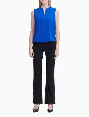 Calvin Klein Pleated V-Neck Sleeveless Blouse