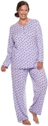 Croft & Barrow Plus Size Henley Tee & Pants Pajama Set