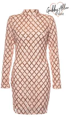 Quiz Gabby's Nude And Rose Gold Sequin Bodycon Dress