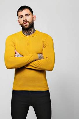 boohoo Muscle Fit Long Sleeve Knitted Polo